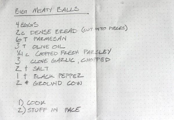Big Meaty Balls recipe, handwritten