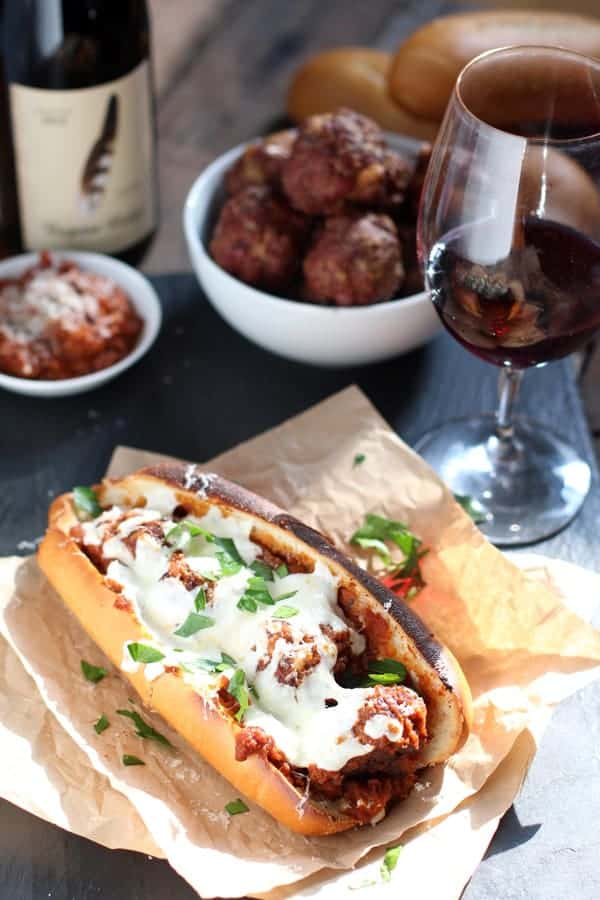 Smoked Meatball Sandwich and Wine Pairing