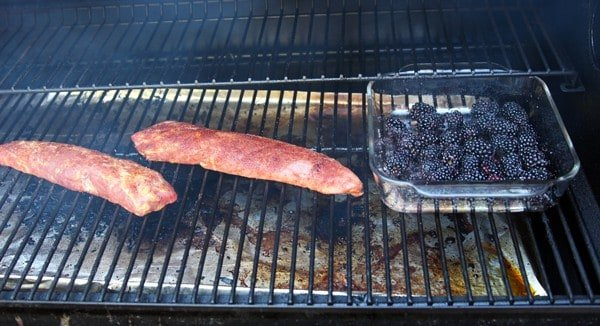 Pork Tenderloin and Blackberries cooking on the smoker
