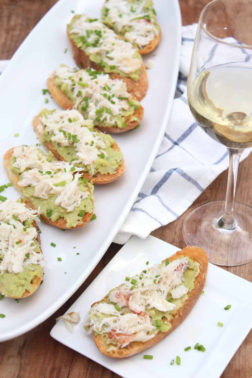 Crab, Avocado, and White Bean Crostini