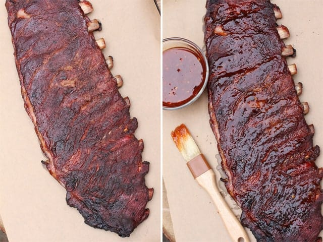 Glazing smoked ribs with Asian spice sauce