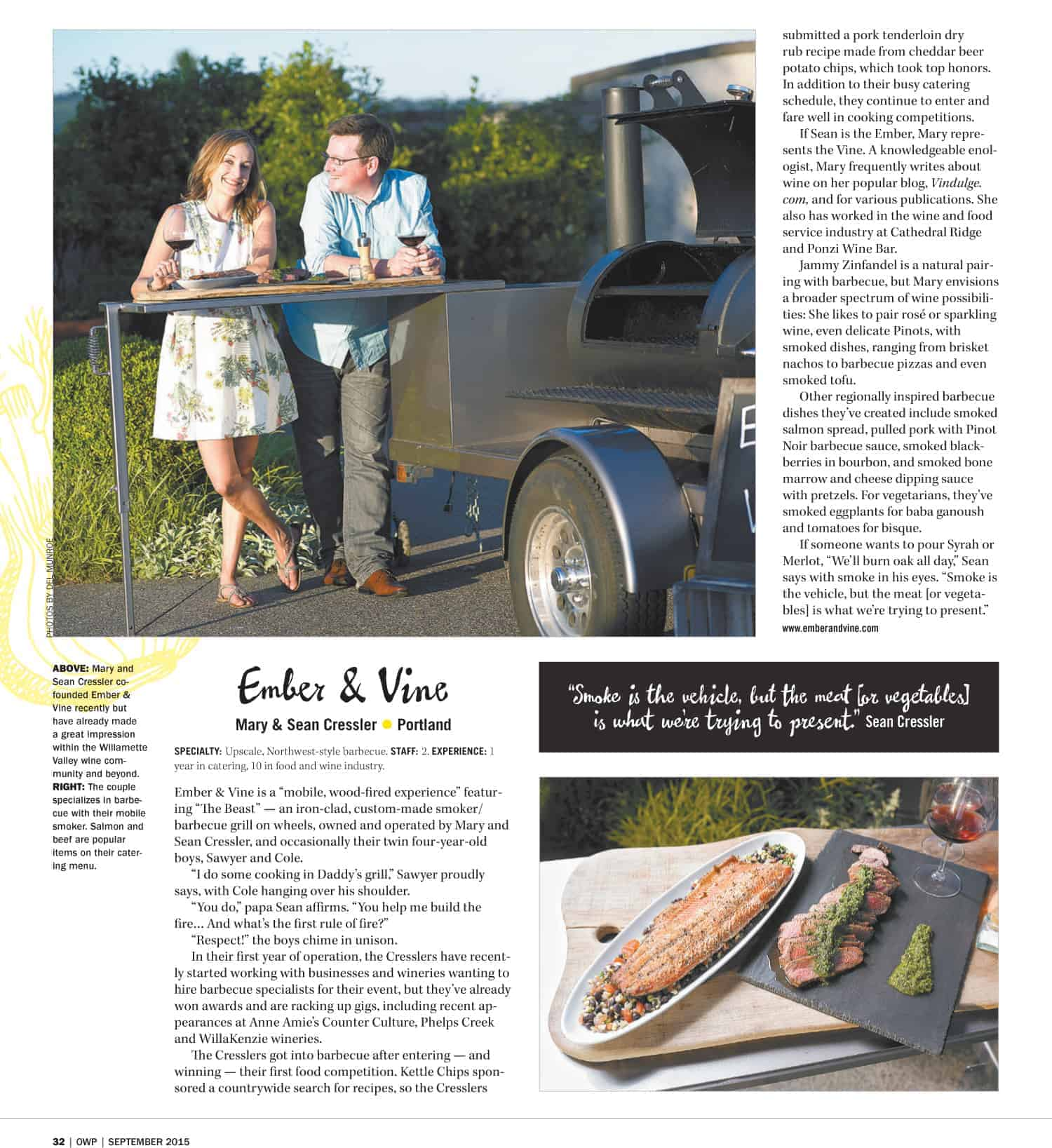 Ember and Vine featured in Oregon Wine Press