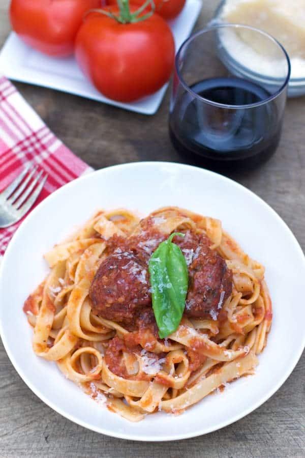 Pasta with Smoked Marinara Sauce and Smoked Meatballs