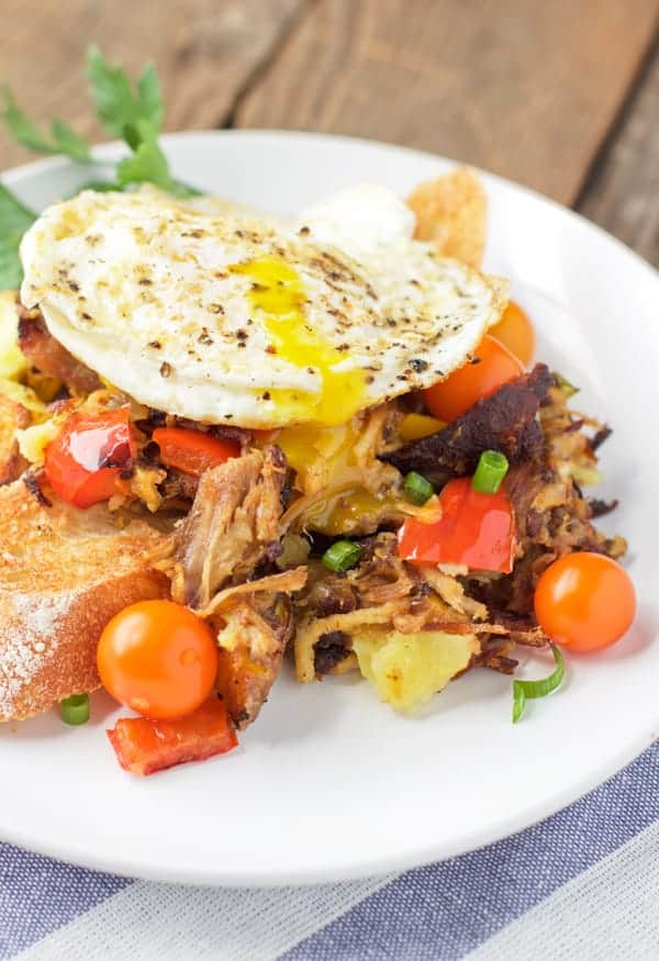 Smoked Pulled Pork Hash with Fried Eggs