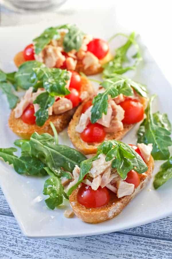 Puglia inspired Tuna Toasts with Tomatoes and Arugula