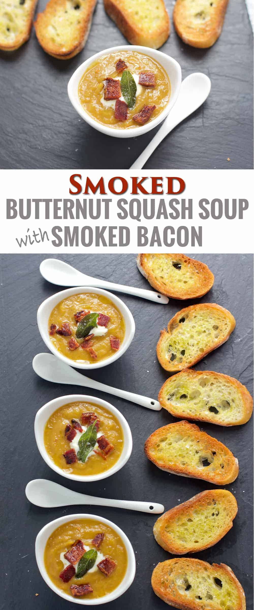 Smoked Butternut Squash Soup with Smoked Bacon and Fried Sage. The perfect appetizer for Thanksgiving!