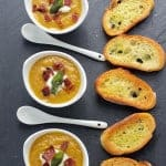 Smoked Butternut Squash Soup with Smoked Bacon and Fried Sage