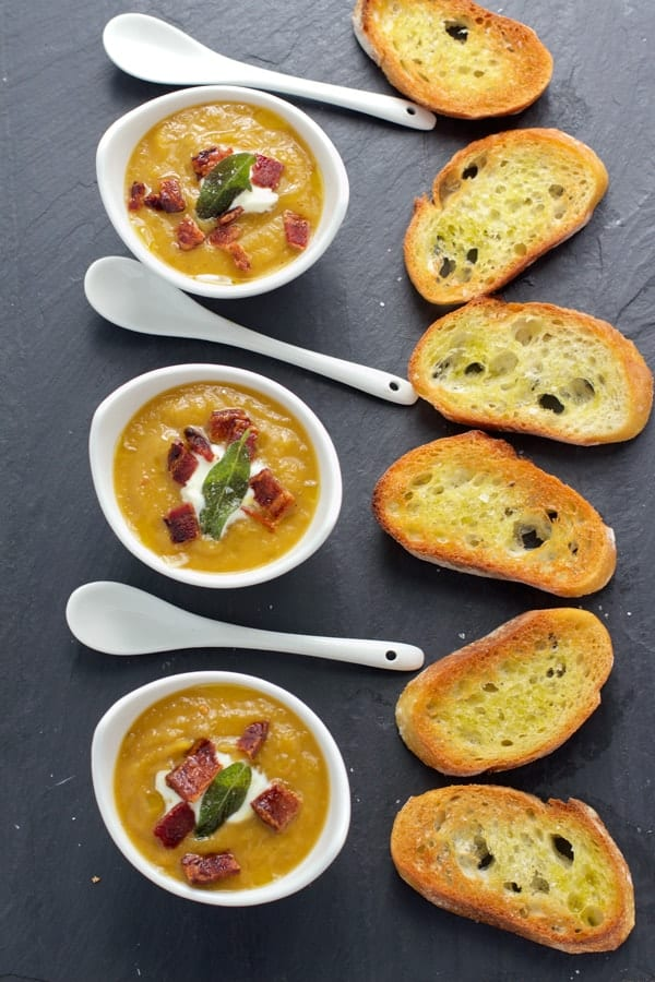 Smoked Butternut Squash Soup with Smoked Bacon