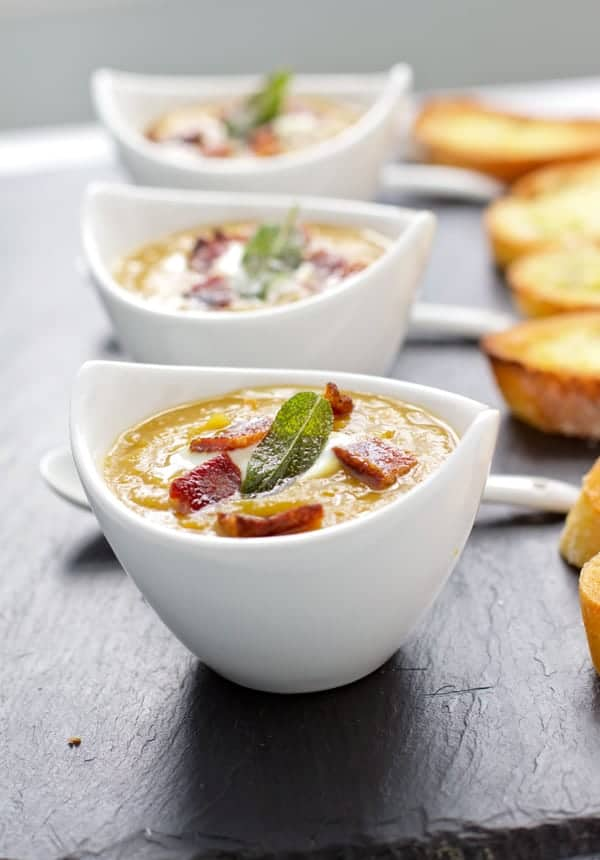 Soup in party appetizer cups