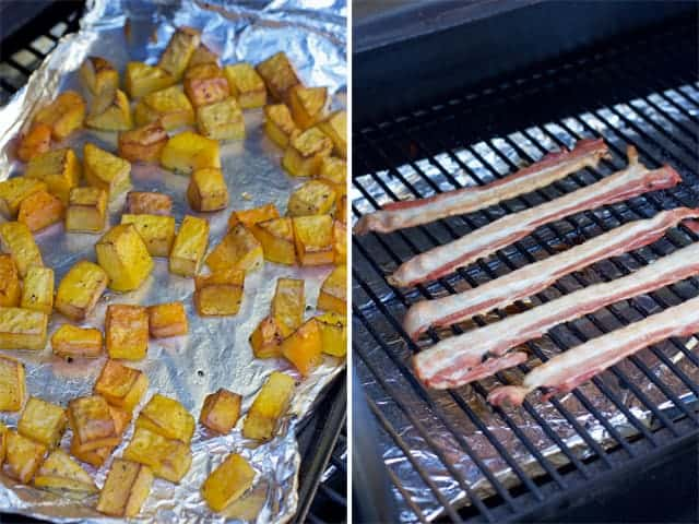 Smoking Butternut Squash and Bacon to be used in a fall soup