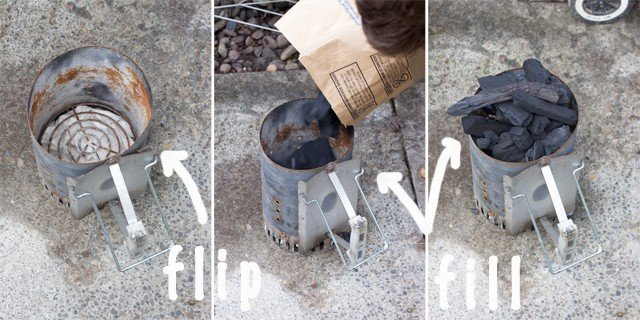 How to use a chimney to start a charcoal grill.