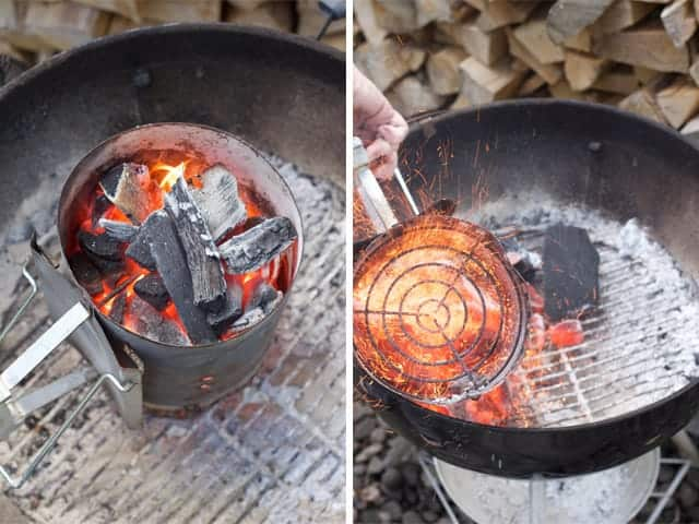 Chimney starter with coals ready to flip.
