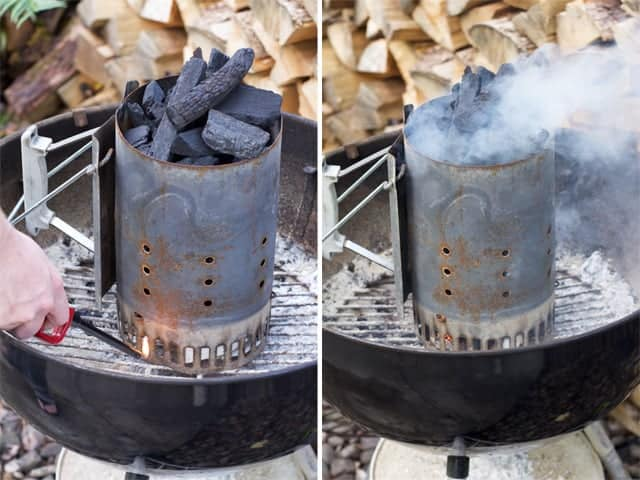 Charcoal Chimney Starter being lit.