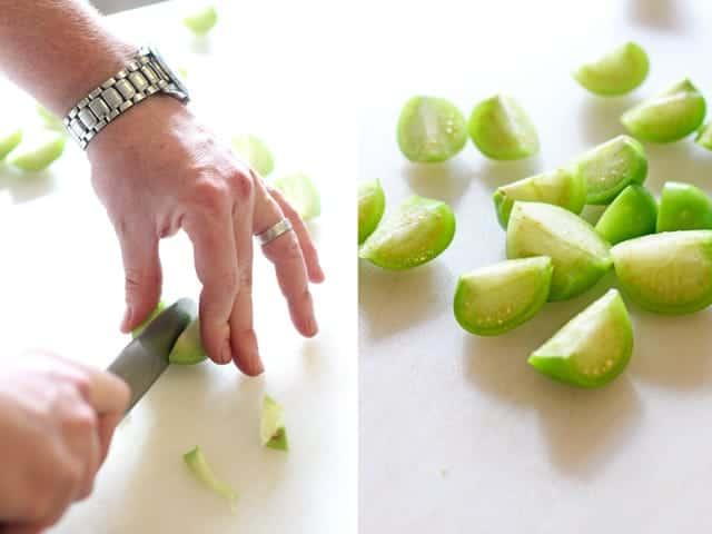 Cutting tomatillos