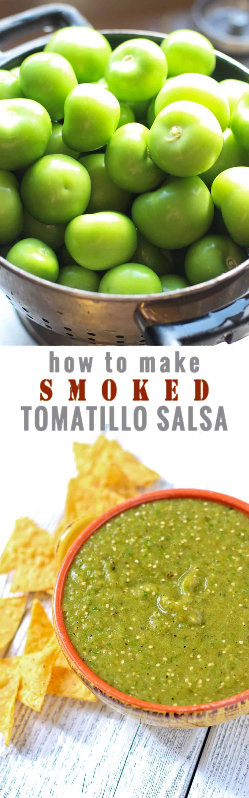 How to smoke tomatillos and made a fantastic smoked tomatillo salsa. It's sooo easy and everyone LOVES it! It's fantastic on pork sausages, chicken, or just simply with chips. This is a favorite recipe for our catering business!