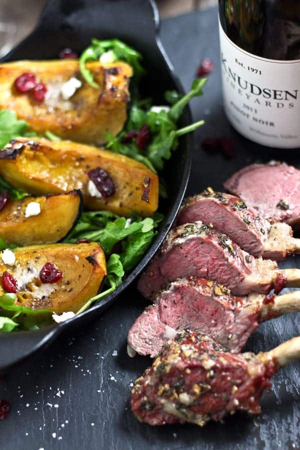 Roasted Acorn Squash Lamb. An easy, yet super elegant, dinner for two. Would be great for a dinner party too! Comes with the perfect wine pairing