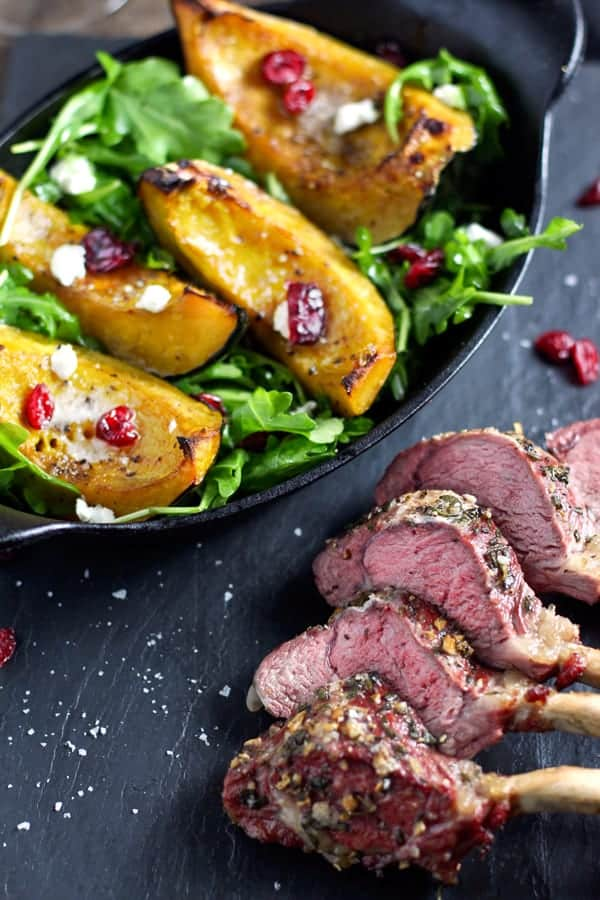 Roasted Acorn Squash and Grilled Lamb