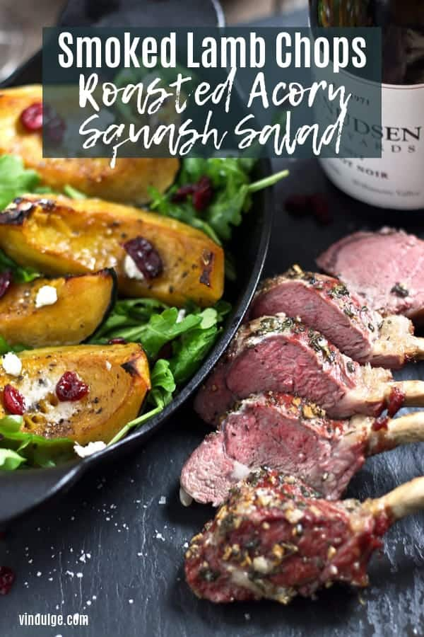 smoked lamb chops with acorn squash salad