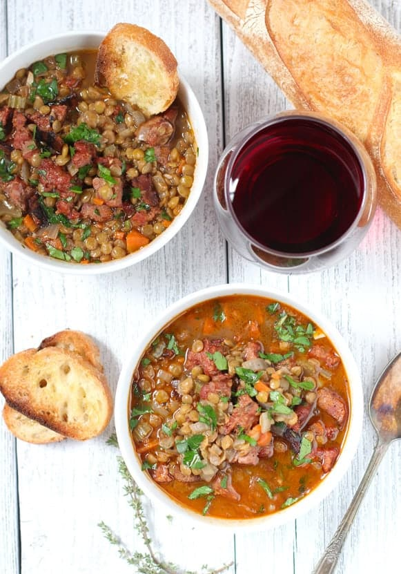 wine paired with lentil soup