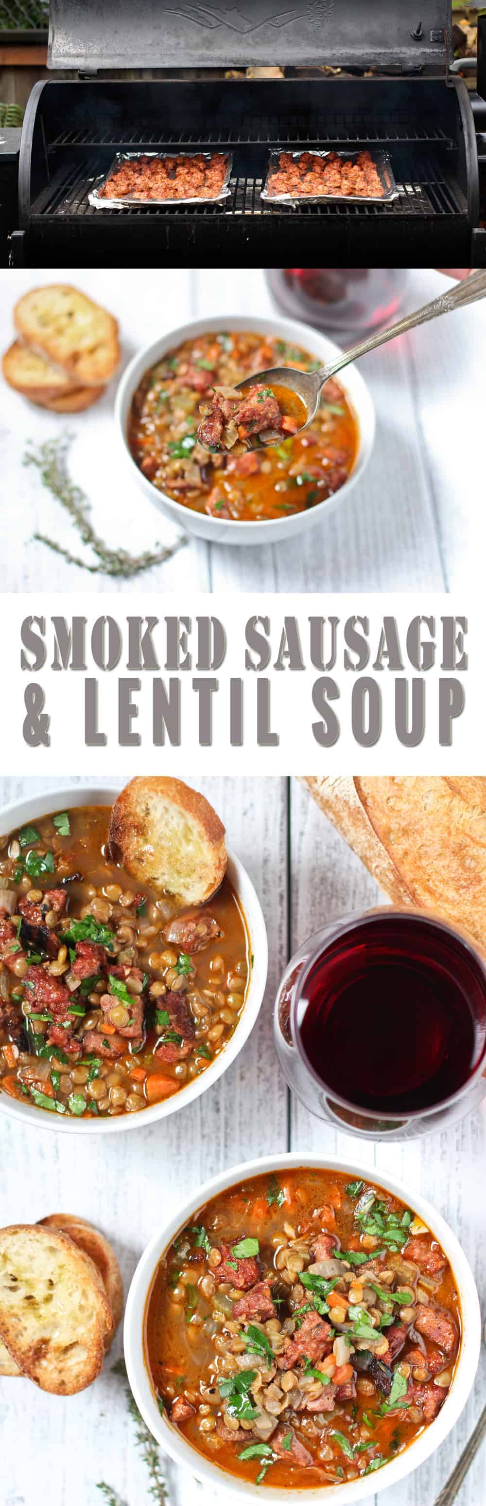 Smoked Sausage and Lentil Soup. A smoky, savory, hearty (and easy!), soup perfect for cold nights. We've made this for over 500 people at catering events and it's a hit!! Easy and devious. What more could you want?! Bonus: It also comes with wine pairing!!