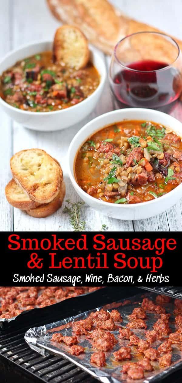 Smoked Sausage & Lentil Soup Pinterest Image