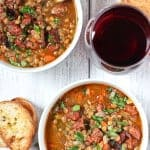 Smoked Sausage and Lentil Soup. Easy, smoky, hearty, and super delicious. We've made this for hundreds of people. This is a tried and true winner!!!