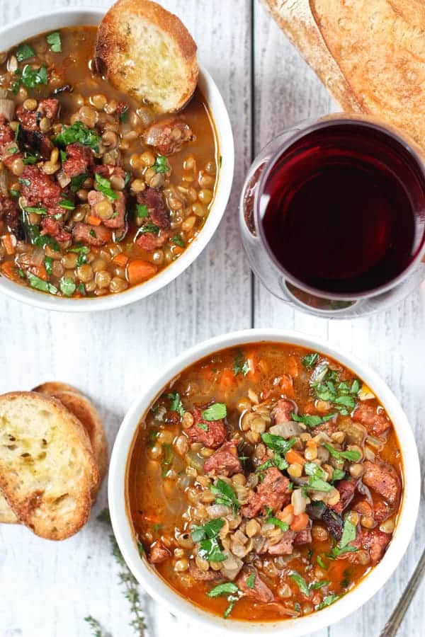 Lentil Soup with Smoked Sausage and a glass of wine