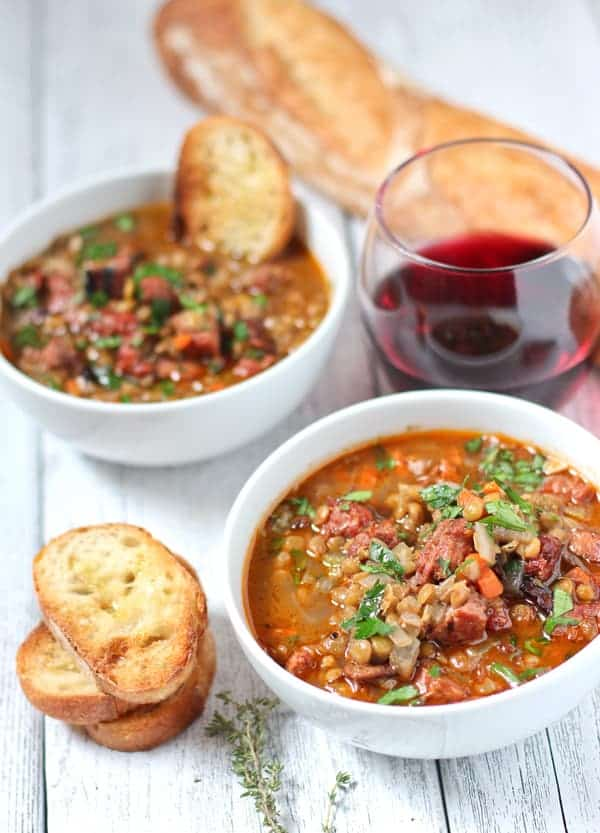 Hearty sausage soup with lentils