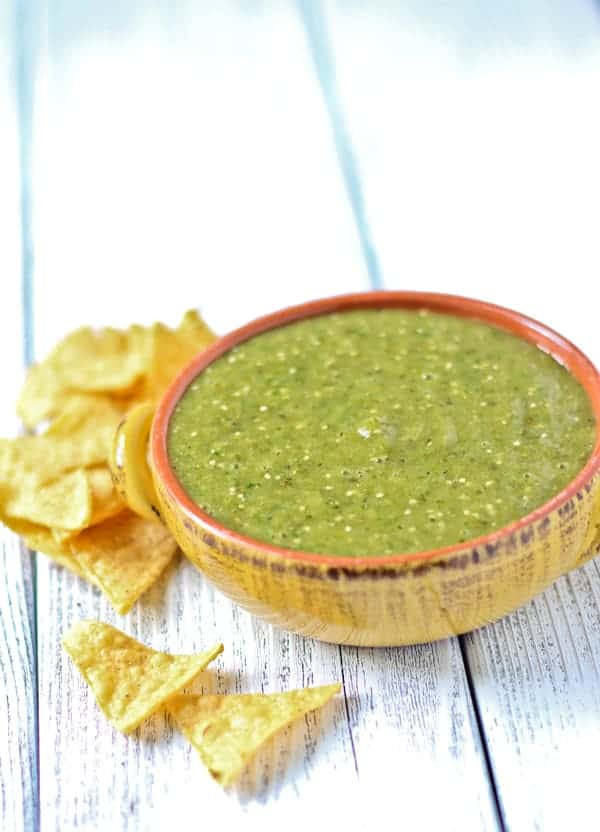 Smoked Tomatillo Salsa is a super easy salsa made in the blender. Great for chicken and pork!
