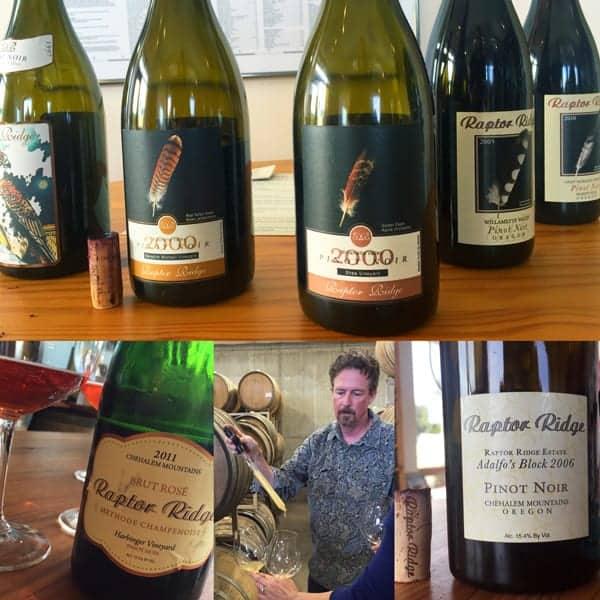 Tasting wine at Raptor Ridge Winery, Oregon