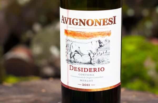 Avignonesi Desiderio Merlot Cortona. A rich and delicious red wine from Tuscany, Italy