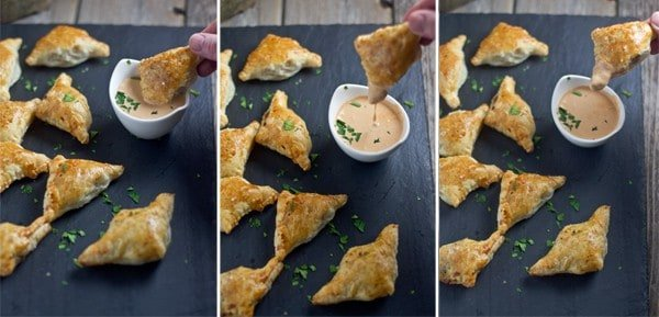 Brisket Empanadas with a creamy crème fraîche BBQ dipping sauce. The greatest use for leftover brisket yet!