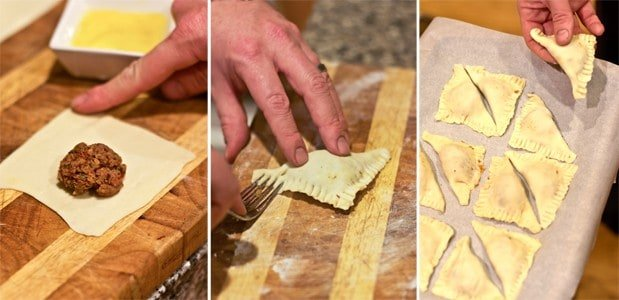 showing steps for filling phyllo dough while making beef Brisket Empanadas