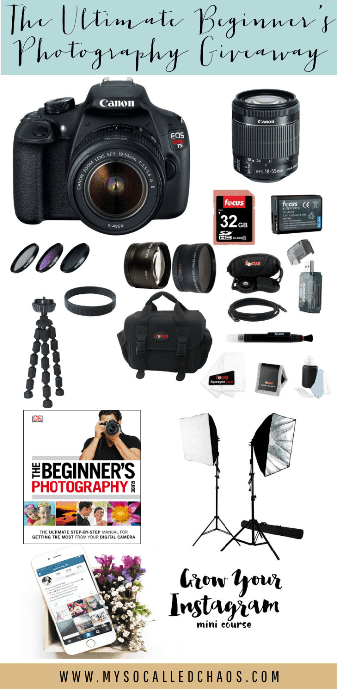 Ultimate Photography Giveaway. Enter here to win a Canon Rebel T5 DSLR Camera w/Lens, Canon Rebel T5 Supplies, and more!