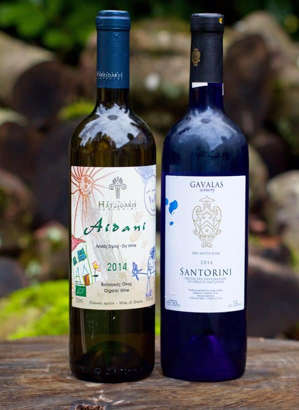 2014 Hatzidakis Aidani (Santorini, Greece), and 2014 Gavalas Santorini 'Dry White Wine' Assyrtiko (Santorini, Greece)