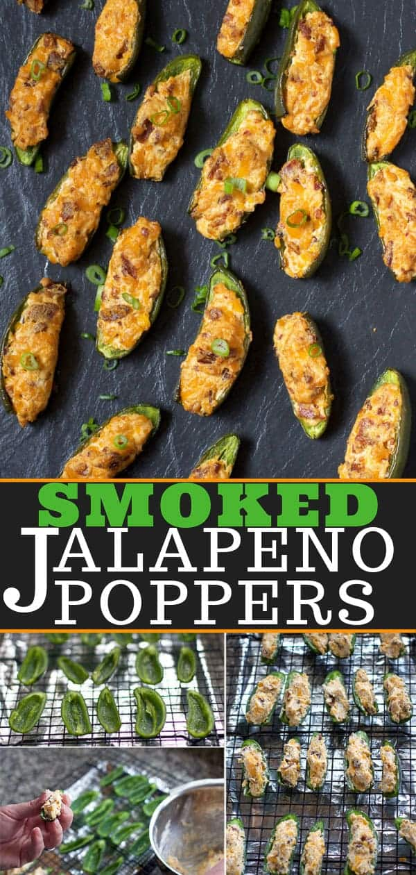 Smoked Jalapeno Poppers with Bacon on a plate, steps of smoking jalapeno poppers, pin image