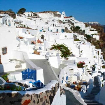 All white buildings in Santorini