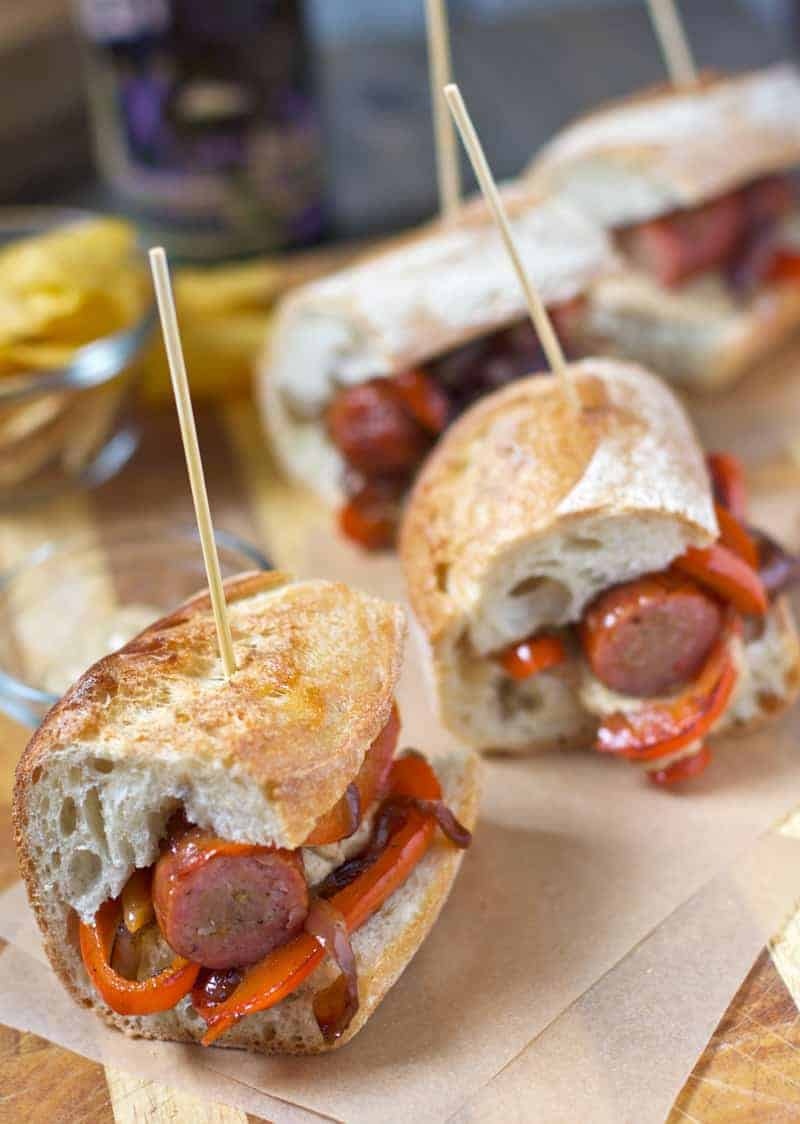 Smoked Sausage Sliders with Peppers and Onions. A super easy slider sandwich for the Super Bowl! One of many great game day easy appetizers to come!
