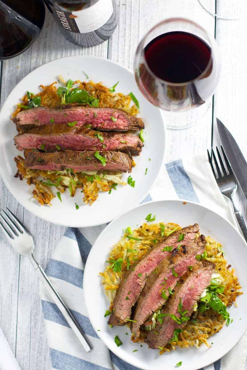 Date night dinner. Pairing Sbragia Cabernet Sauvignon with Flank Steak.