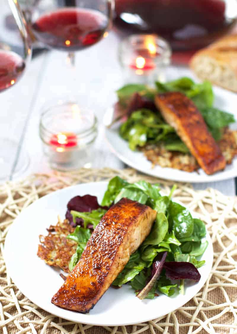 Perfectly Grilled Salmon with Sweet and Spicy Glaze and Potato Cakes