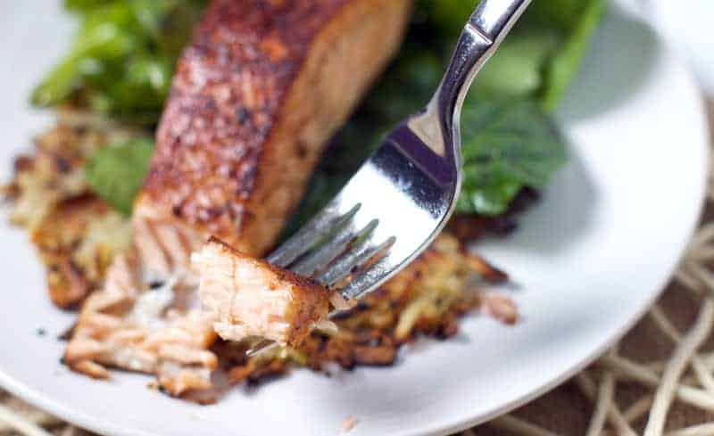 Salmon with Sweet and Spicy Glaze and Potato Cakes