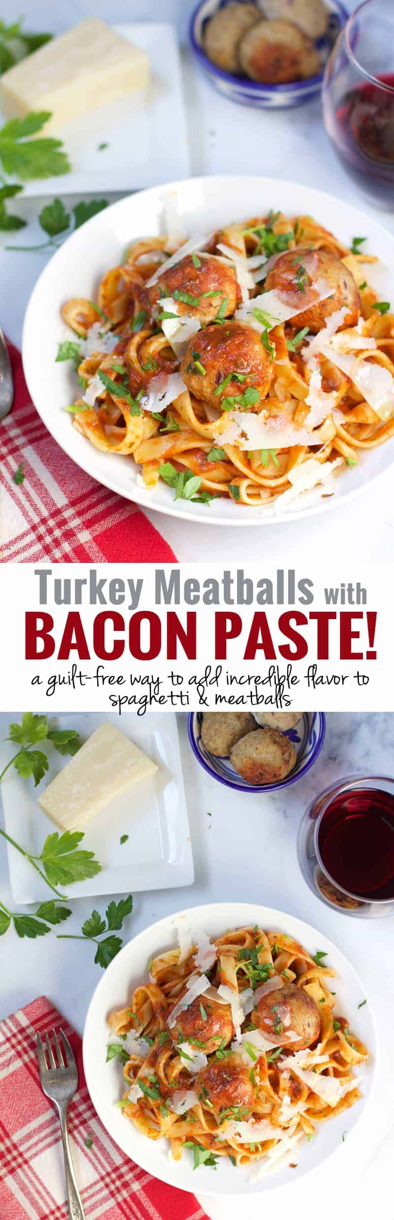 Turkey Meatballs with Bacon Paste. An incredible (and guilt-free!) way to add incredible flavor to your spaghetti and meatballs! Tender, juicy, and full of incredible flavor!