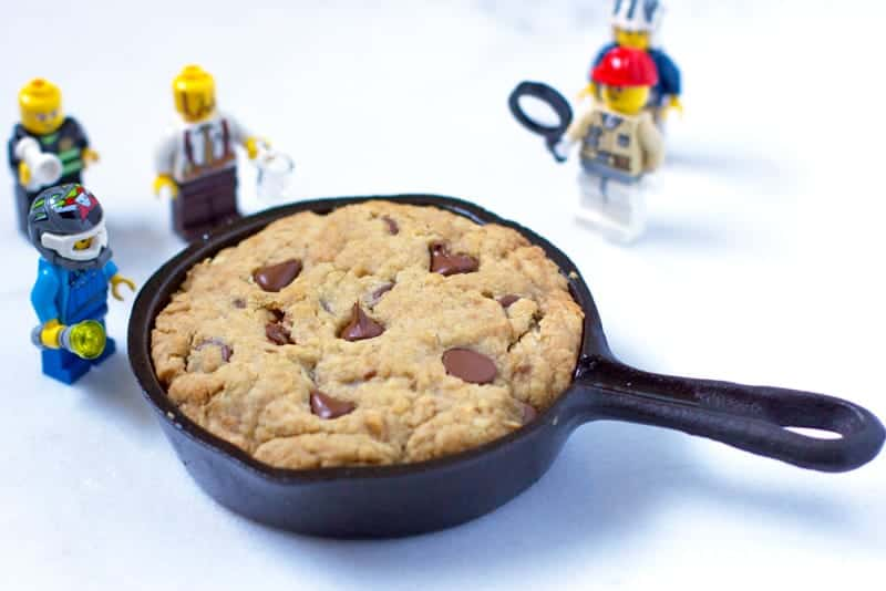 Deep Dish Cookie Cooked on a Mini Lodge Cast Iron Skillet