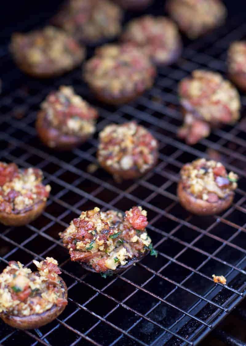 Smoked Sausage Stuffed Mushrooms on the smoker