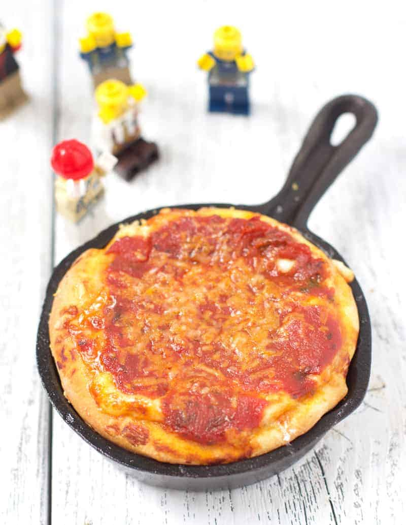 Deep Dish Pizza in a Mini Cast Iron Pan