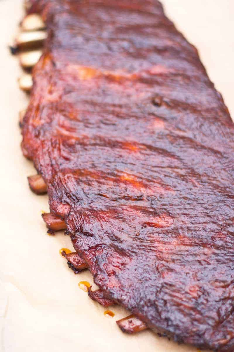 A rack of Competition Style Smoked Pork Ribs