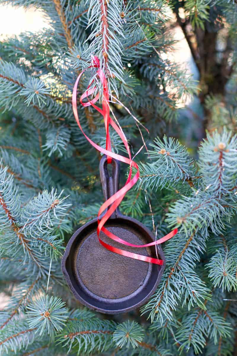 Tiny Skillet as a Christmas Ornament