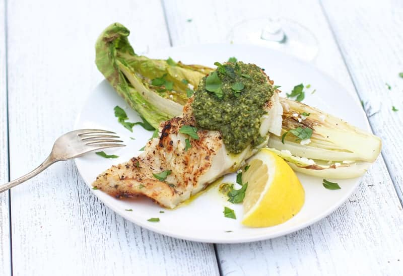 Grilled Fish with Chimichurri Sauce and Grilled Romaine. Light, fresh, healthy, nourishing, completely satisfying, and full of bright, herbal, and citrus flavors.