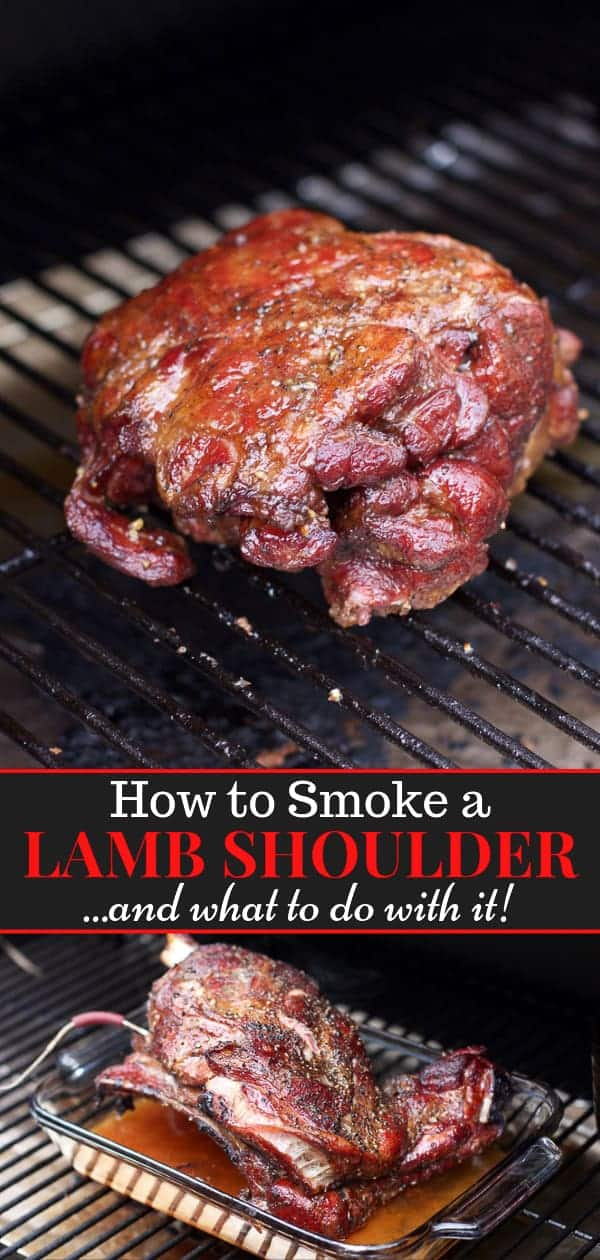 boneless lamb shoulder on the smoker, pinterest image