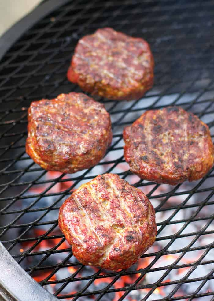 Smoked burgers finished on the grill